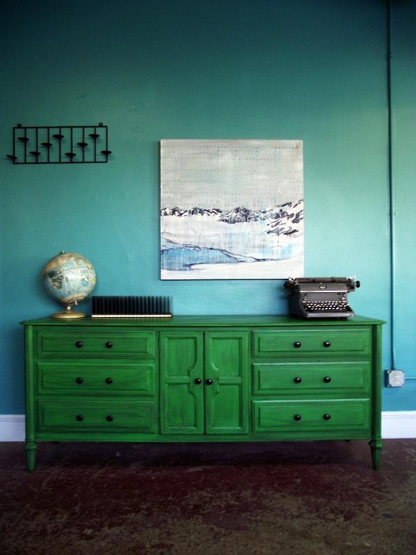 Vintage Ground Vintage Distressed Green Dresser  Buffet