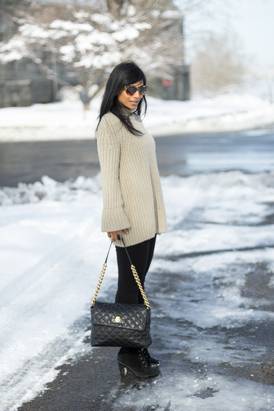 Funnel neck sweater, chunky knit, winter style, latte, black booties, marc jacobs handbag
