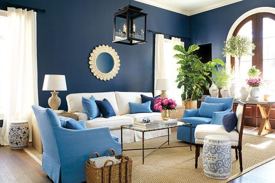 Decoração de sala de estar em azul