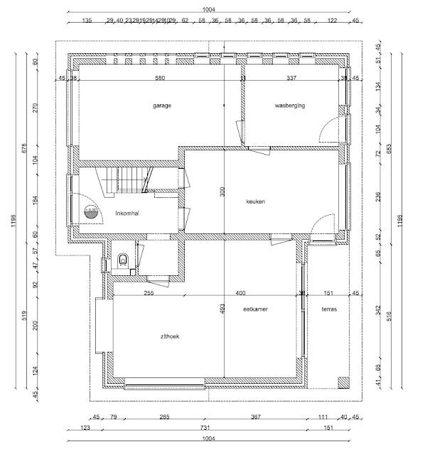 Plan oorspronkelijk verbouwing gelijkvloers woning jaren 60