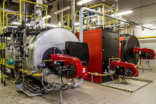 Gas fired boilers in industrial facility