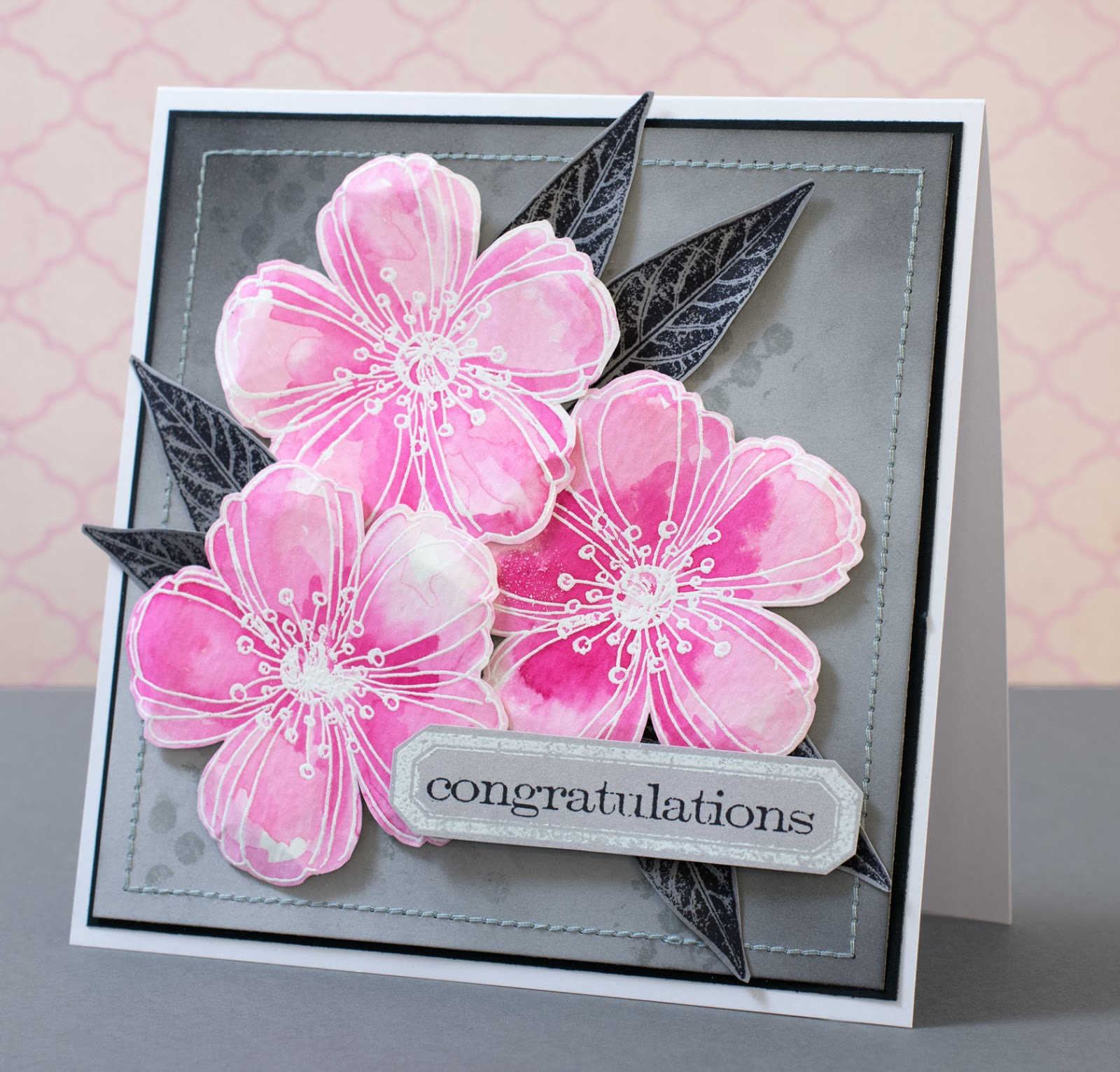 Cardmaking: Card for Craft Stamper TIMI December: Stamping with white