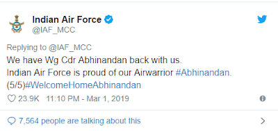 AIR STRIKE WING COMMANDER ABHINANDAN BACK WITH US,WHAT DID IAF SAY?