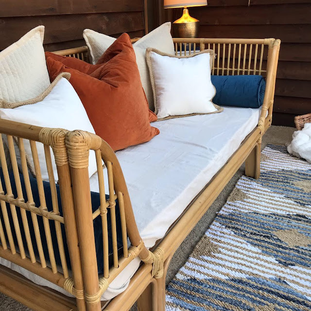 World Market rattan daybed sun porch makeover spain hill farm
