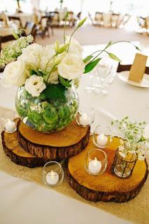 centro tavola per matrimonio fai da te con tranci legno