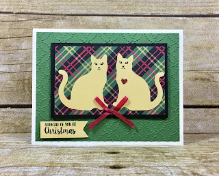 "This Christmas card uses Stampin' Up!'s Cat Punch!  This punch is so versatile!  We also used the Spooky Cat and Season Like Christmas stamp set.  We also used the Christmas Around the World designer paper, Red Glimmer Paper, Cookie Cutter Builder Punch, and the Real Red 1/8"" Solid Ribbon.  #stamptherapist #stampinup www.stamptherapist.com"