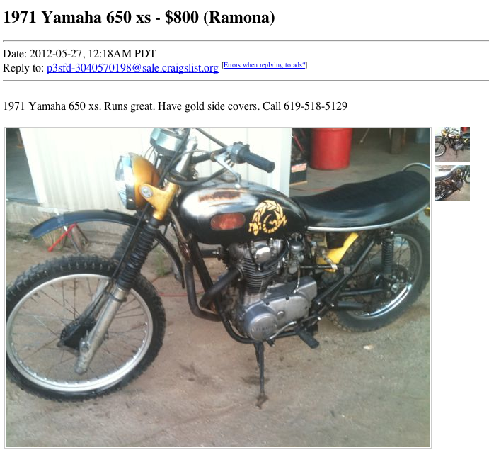 Yamaha Xs650 For Sale Craigslist