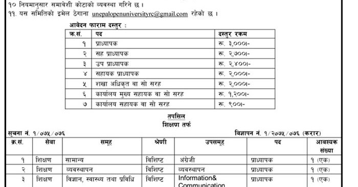 Nepal Open University announces vacancy