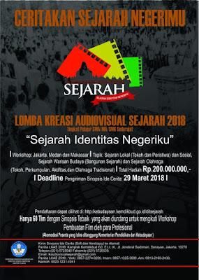 [Gratis] Lomba Kreasi Audiovisual Sejarah Nasional 2018 dari Kemendikbud total Hadiah 200 Jt