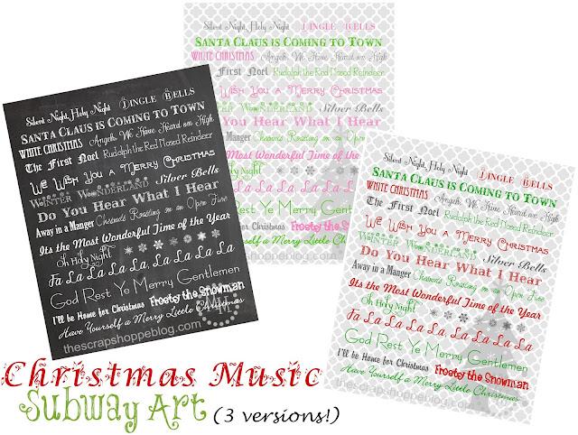 Christmas Subway Art Free Printable.Christmas Music Subway Art Prints The Scrap