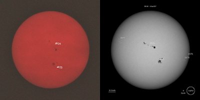 compare canon 300mm sunspots to nasa soho image of active regions