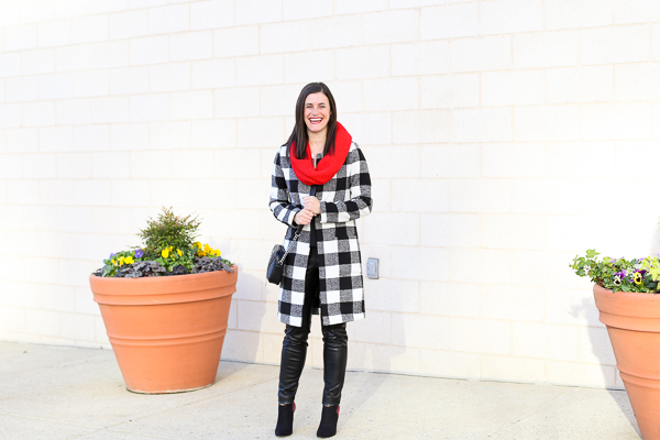 Naturally Me, Holiday Outfit Idea, How to Wear A Plaid Coat for the Holidays, The Perfect Holiday Outfit, Black and White with Pops of Red, How to Wear Red, Old Navy Snood