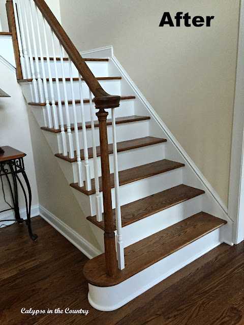 Foyer Stairs After - Stained with painted risers and spindles