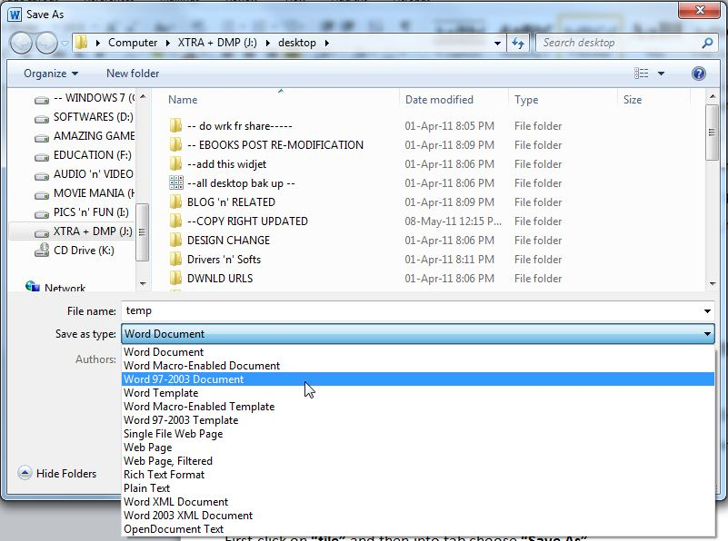 how to convert .docx to .doc format - creativeworld9