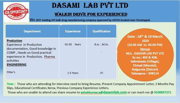 Dasami Labs Ltd - Walk in Drive for Production, Engineering o 18th & 19th March 2020