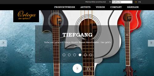 Die Website von Ortega Guitars.