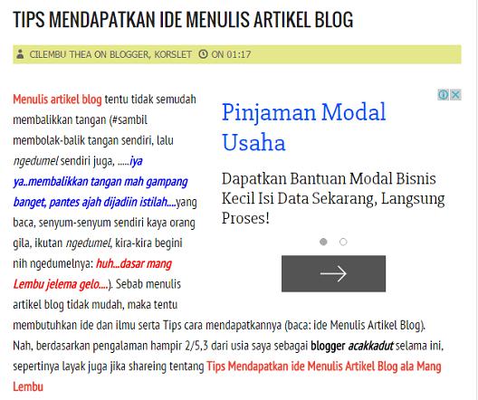 Harga Tulisan di Artikel Blog