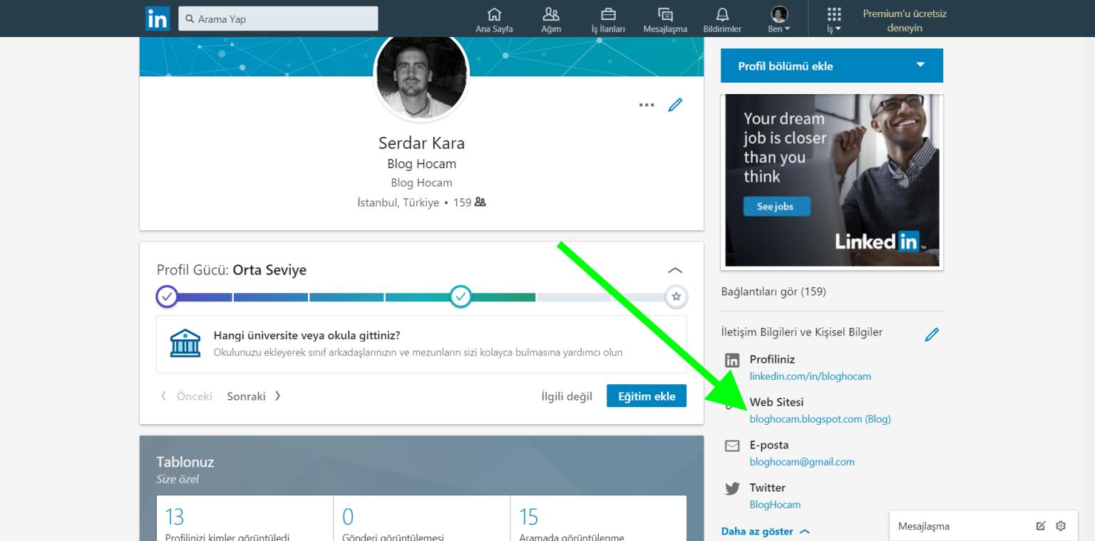 LinkedIn backlink