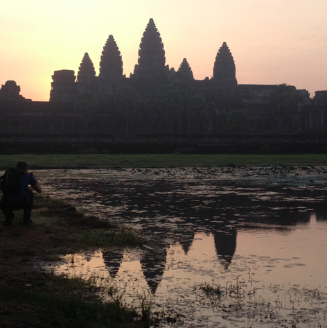 sunrise and reflection in water of Angkor Wat, Cambodia