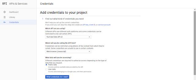 YouTube API key