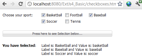 ExtJs CheckBoxes Example