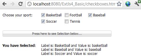 ExtJs CheckBoxes Example