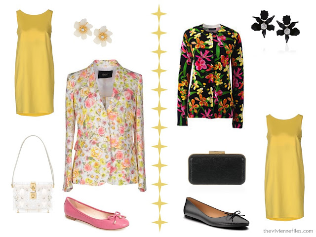 Two ways to wear a yellow dress with florals