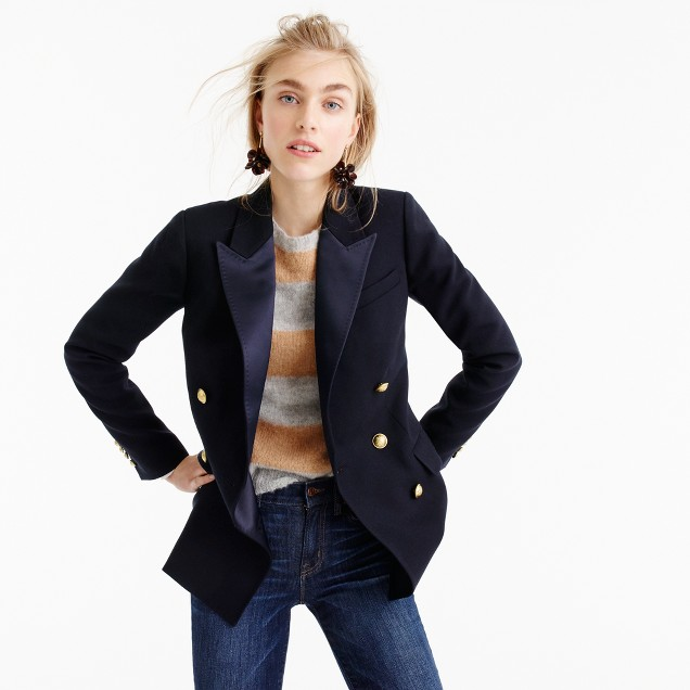 J Crew Double Breasted Blazer in italian wool with satin lapel