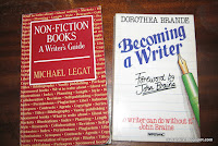Two writing books: Michael Legat's non-fiction books, and Dorothea Brand's Becoming a Writer