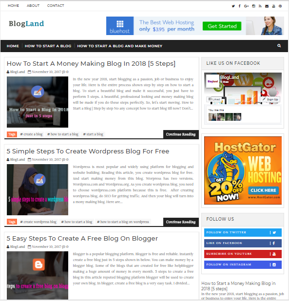 Top 5 Free Blogger Templates 2018 - Very Responsive and SEO Friendly ...