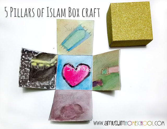 5 Pillars of Islam box activity - includes printable template and instruction guide for kids