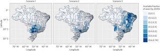 The fraction of land available for sugarcane expansion by 2045 in each of the legally defined micro-regions of Brazil under the three land-use scenarios considered in this study. (Credit: nature.com/nclimate/journal) Click to Enlarge