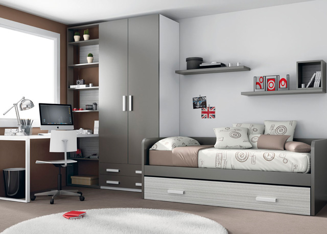 la combinacion de acabados le da un toque mas serio a la composicion combinado en blanco y gris dormitorio juvenil