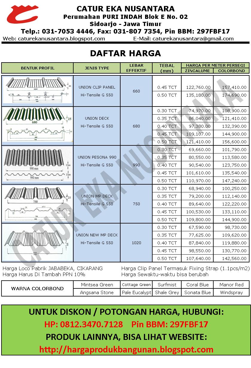baja ringan banjarmasin bahan bangunan | atap genteng metal: harga union deck