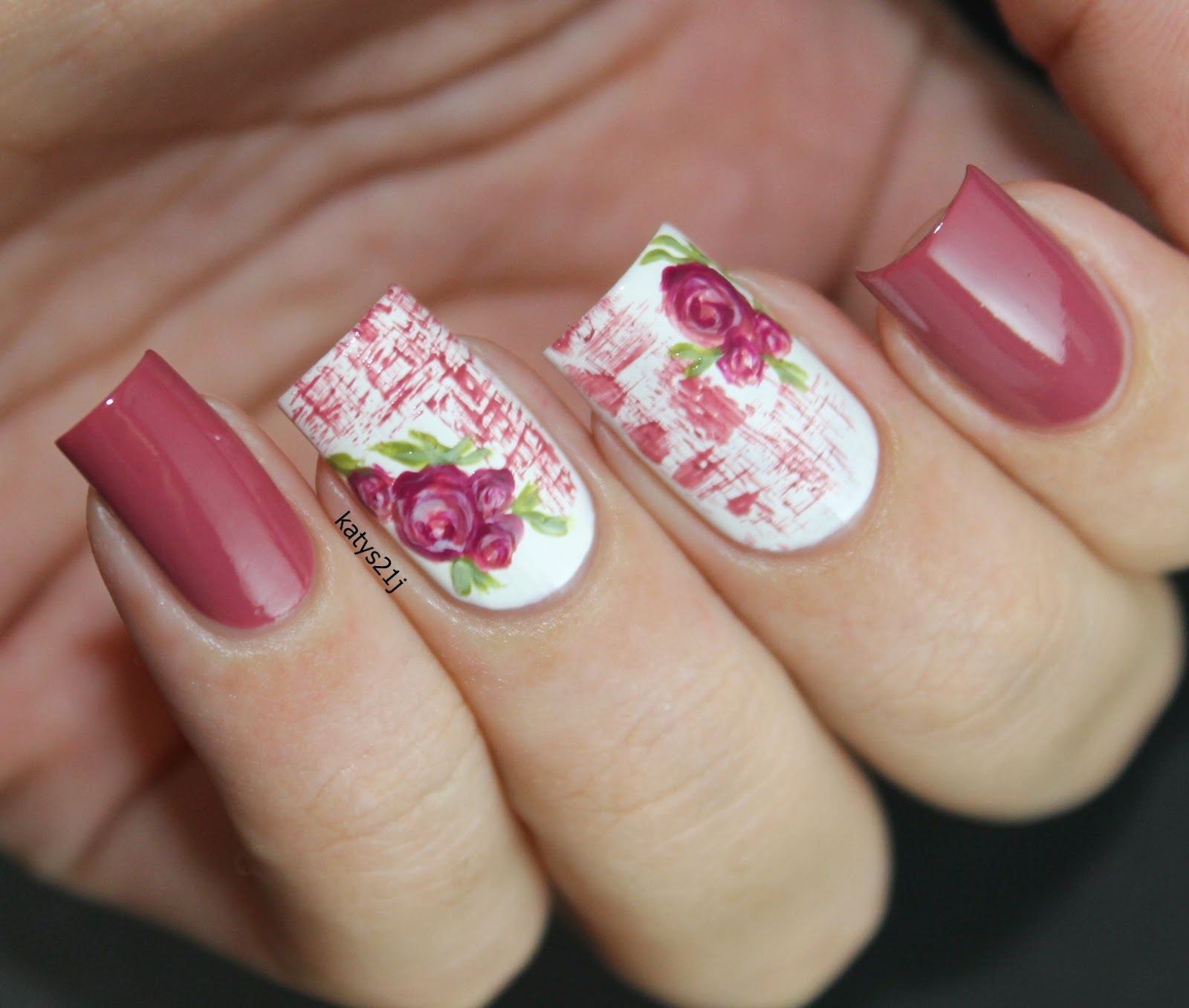 My Nail Art Journal Vintage Roses Nails Rosa Viejo Vogue Fantastic