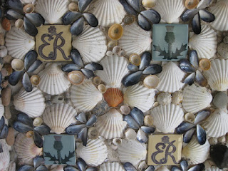 Close-up of seashells and tiles, interior of stone pavilion, Queen Mother's Memorial Garden, Royal Botanic Garden, Edinburgh, Scotland