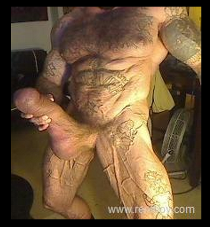 massive muscle huge cock cum