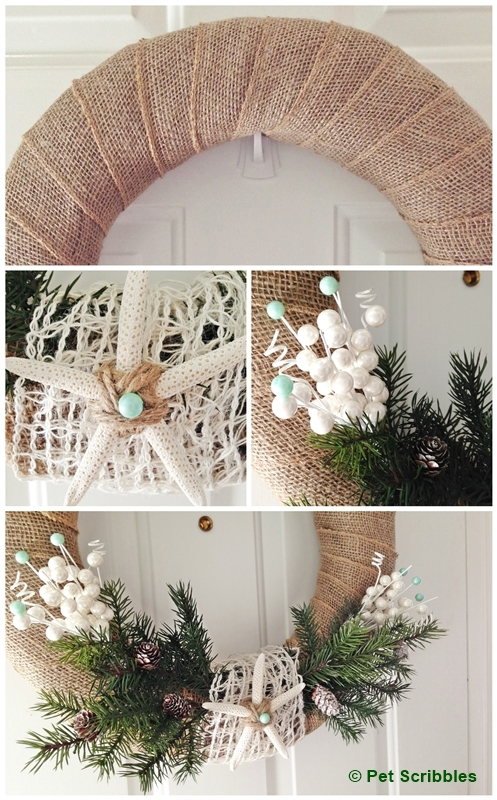 Coastal Winter Wreath: coastal winter wreath DIY: burlap, jute ribbon, twine, starfish, floral and pine picks, aqua beads