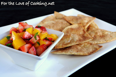 Strawberry and Mango Salsa with Cinnamon Chips