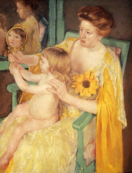Mãe Usando Girassol em seu Vestido - Pinturas de Mary Cassatt | Mulheres na pintura