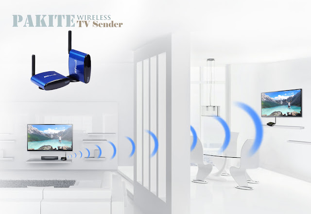 You can use two sets wireless av sender in your home