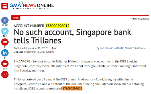 LOOK: Sen. Trillanes gave DBS Bank in SG a different account number