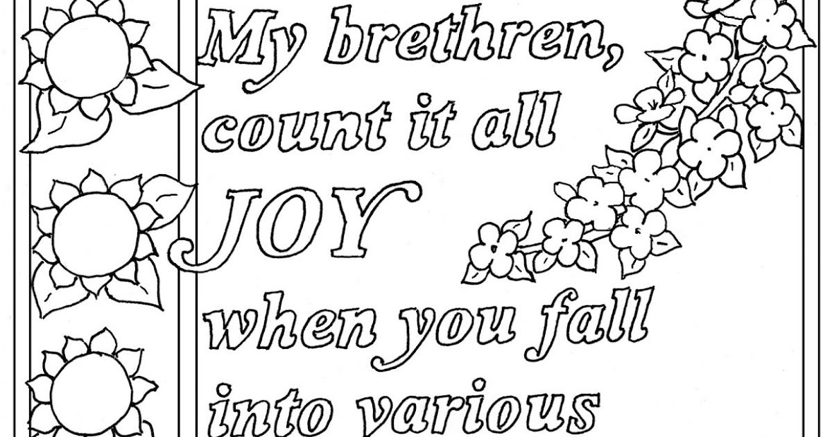 Coloring Pages for Kids by Mr. Adron: James 1:2-3, Count