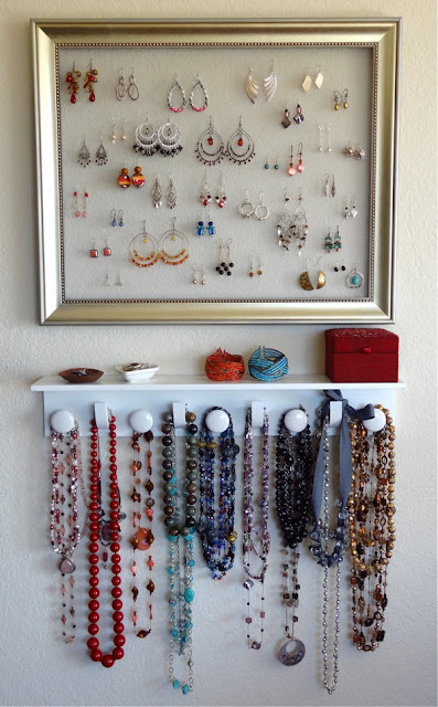 Frame and Shelf Jewelry Organizer