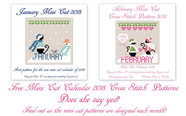 Free Mini  Black Cat January and February cross stitch patterns, Mini Cat stood next to a snowman wearing a blue scarf and a hat, snow on the ground with the word January in blue. The February pattern features Mini Cat next to his girlfriend Miss Mini all dressed in pink