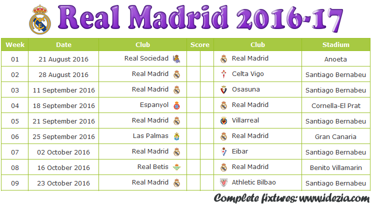 Download Jadwal Real Madrid  2016-2017 File PDF - Download Kalender Lengkap Pertandingan Real Madrid  2016-2017 File PDF - Download Real Madrid  Schedule Full Fixture File PDF - Schedule with Score Coloumn