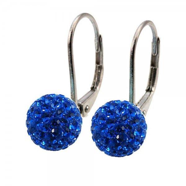 Blue Crystal Drop Earrings Dark