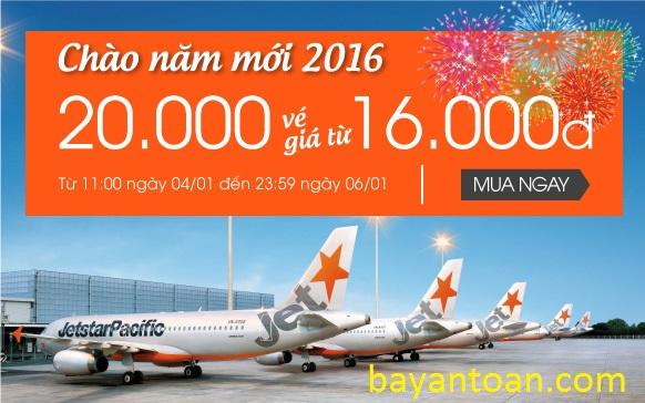 Chào năm mới 2016, 20.000 vé giá chỉ từ 16.000đ với jetstar