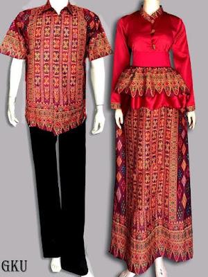 Model Baju Batik Kombinasi Brokat pria wanita