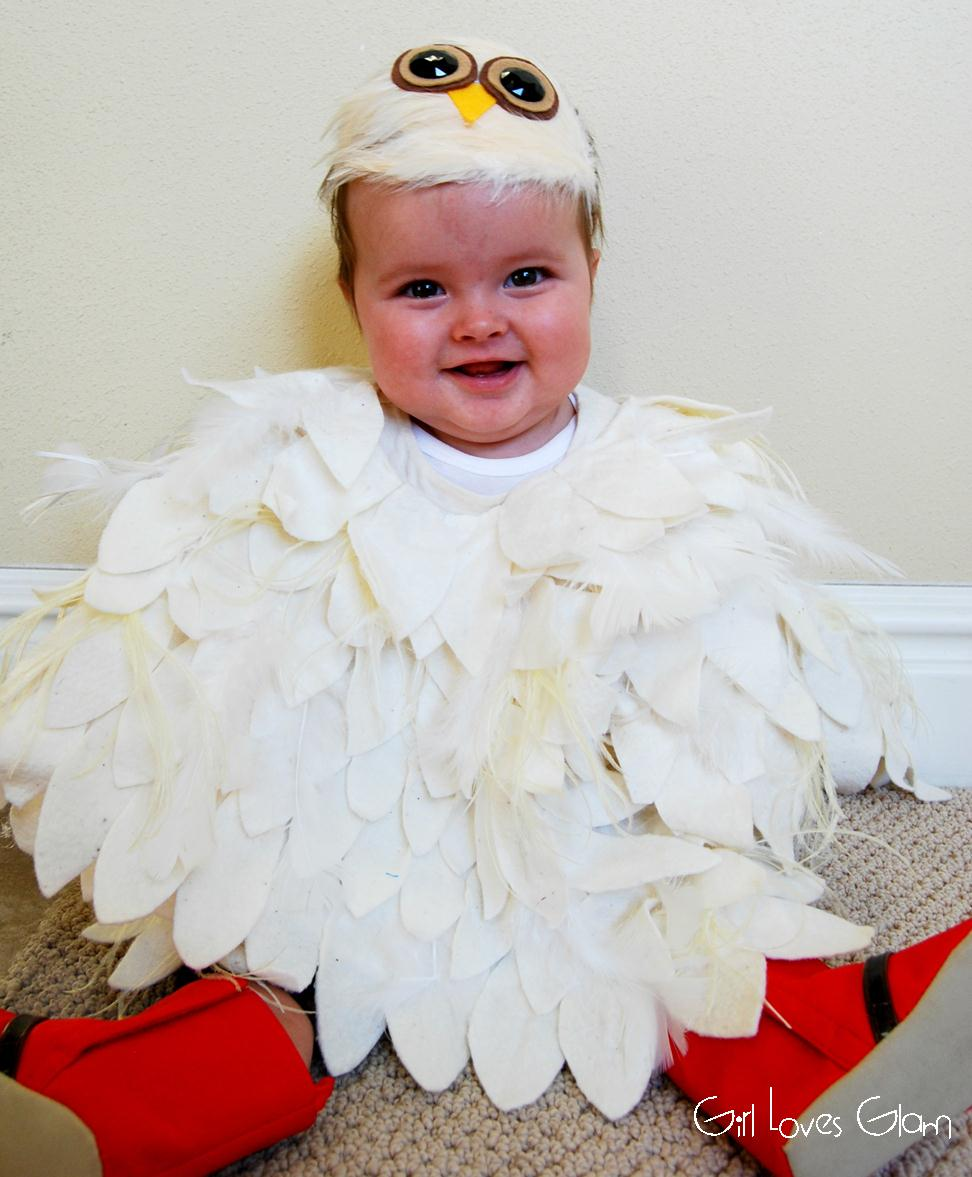 Next glue the real feathers around the poncho. Glue them underneath the fabric feathers to hide the ugly tops of the feathers.  sc 1 st  Girl Loves Glam & No Sew Baby Owl Costume - Girl Loves Glam